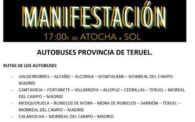 Rutas desde Teruel para acudir a la manifestación de Madrid